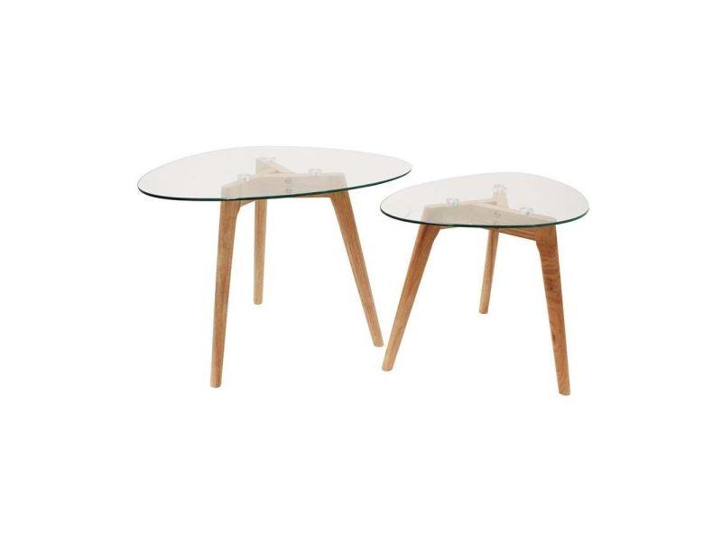 Tables gigognes galets plateaux en verre trempé (lot de 2)
