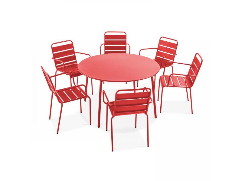Table de jardin ronde et 6 fauteuils en métal gris, palavas 6 places acier rouge