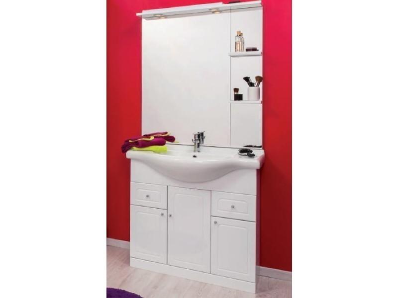 Aqua+ - meuble salle de bain blanc à poser 85cm - baleares