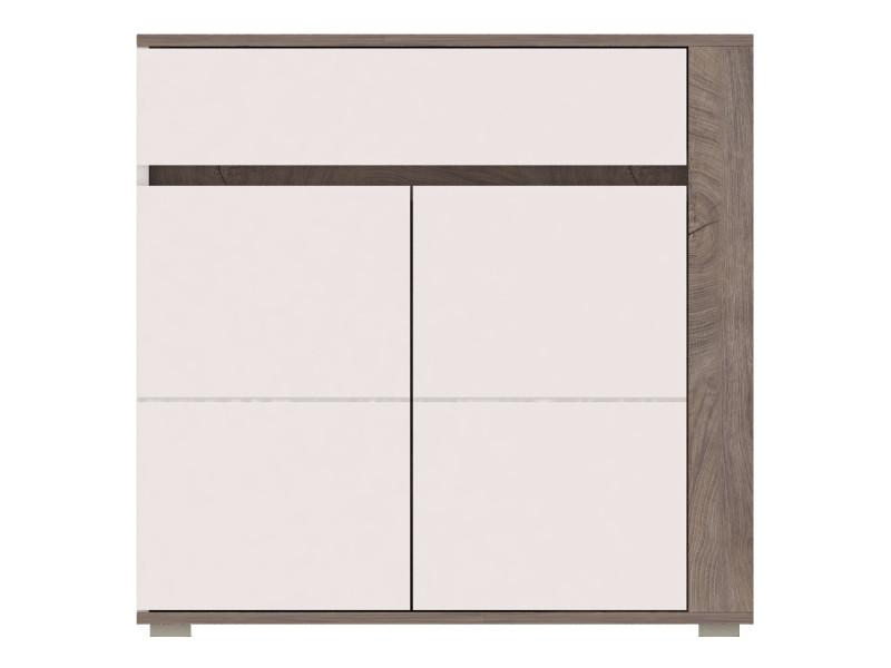 Ares - commode design moderne chambre salon - 103.5x85x40 cm - meuble de rangement buffet enfilade - aspect bois + gloss - chêne/blanc