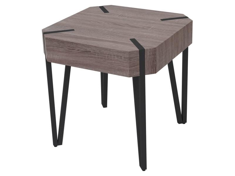 Table basse de salon kos t574, fsc 52x50x50cm ~ chêne foncé, pieds métalliques foncés