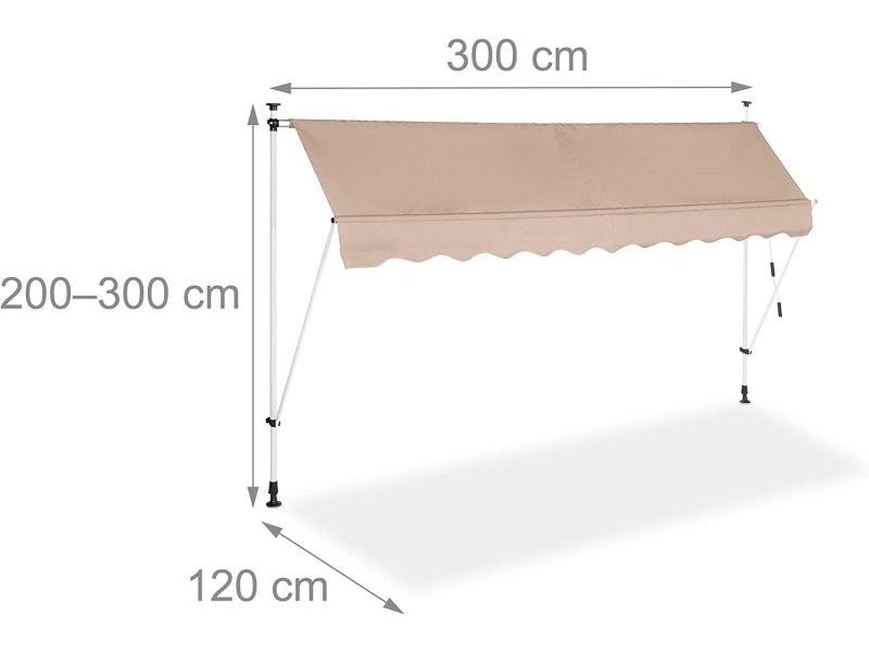 Store banne télescopique de balcon manivelle hauteur réglable résistant uv polyester acier 300 x 120 cm beige helloshop26 13_0000309