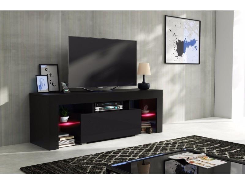 Meuble tv 130 cm corps noir mat et porte laquée avec led rgb