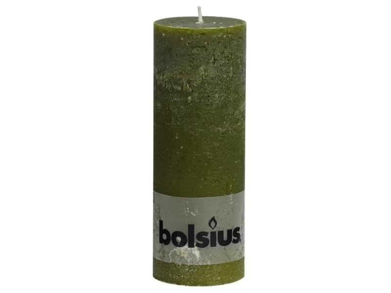 Bolsius bougies pilier rustiques 6 pcs 190x68 mm vert olive 428137