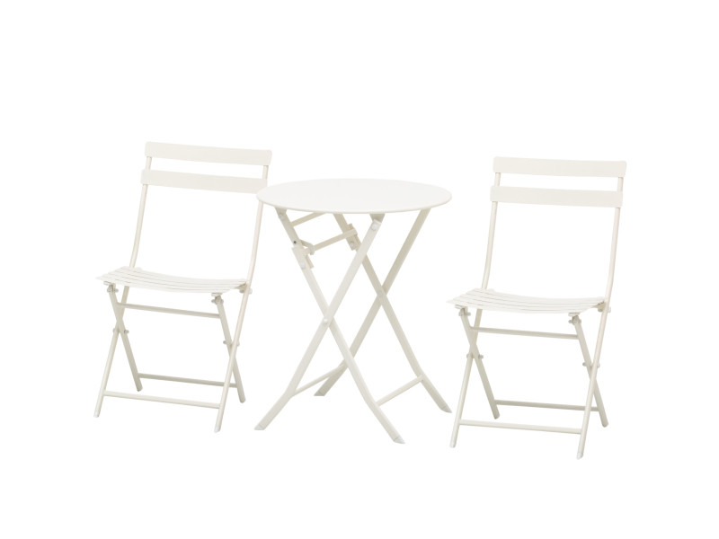 Salon de jardin bistro pliable - table ronde ø 60 cm avec 2 chaises pliantes - métal thermolaqué blanc
