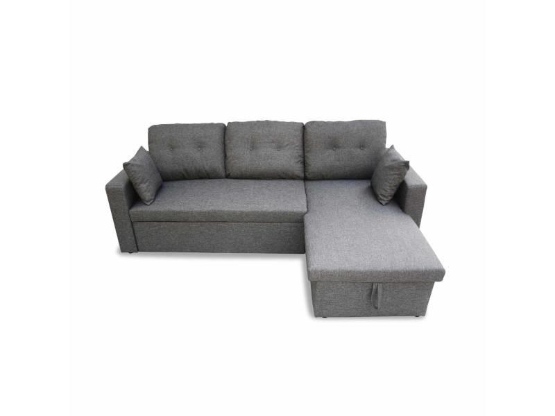 Canapé d'angle convertible en tissu gris chiné foncé - ida - 3 places. Fauteuil d'angle réversible coffre rangement lit modulable