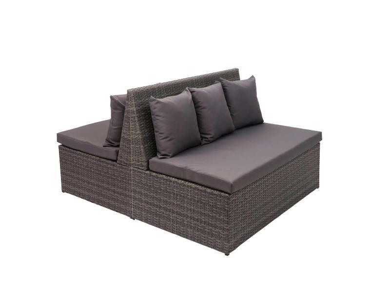 2x canapé en polyrotin, 2 places hwc-g16, banc, fauteuil, gastronomie, 120 cm ~ gris, coussin gris foncé