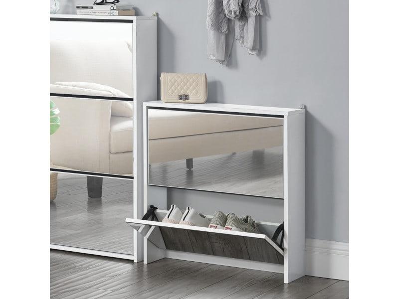 Étagère à chaussures design meuble de rangement 2 compartiments stockage pour 6 paires façade miroir panneaux de particules mélaminés 67 x 63 x 17 cm blanc [en.casa]