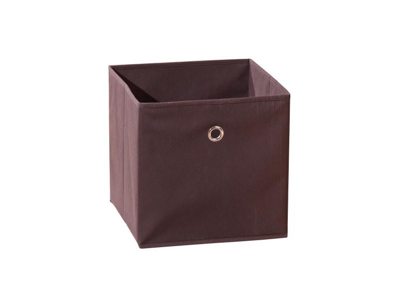 Boîte de rangement en tissu - l 32 x p 32 x h 32 cm - marron