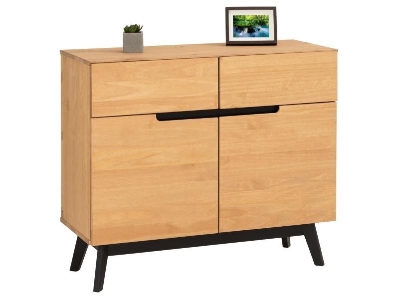 Buffet tibor style scandinave design vintage nordique commode bahut vaisselier 2 tiroirs 2 porte, en pin massif finition bois teinté