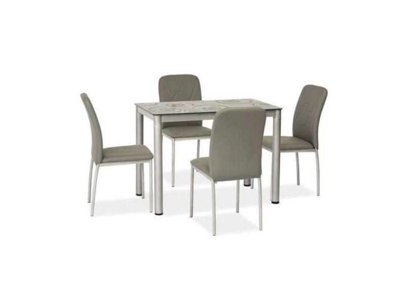 Damatiks - table moderne plateau à motifs - 80x60x75 cm - plateau en verre trempé - cadre en métal - table cuisine - gris