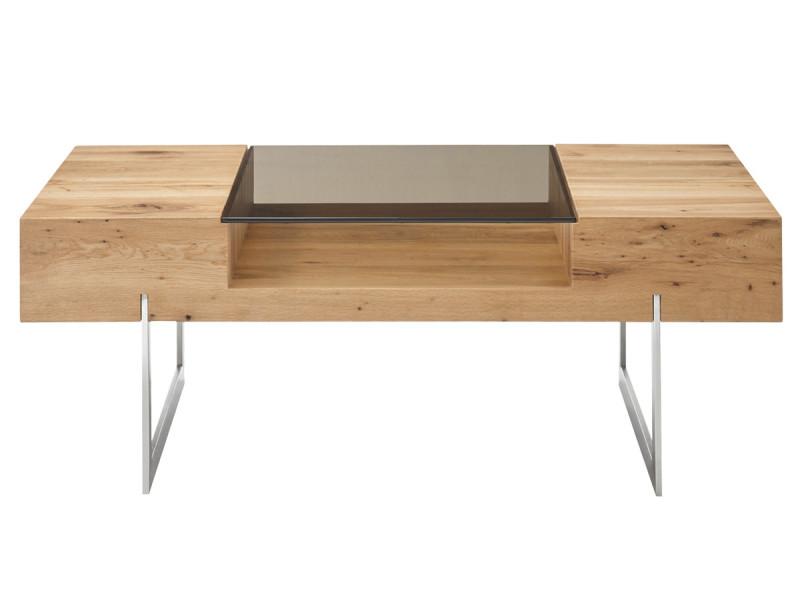 Table basse en chêne noueux / verre bronze - l.110 x h.40 x p.60 cm