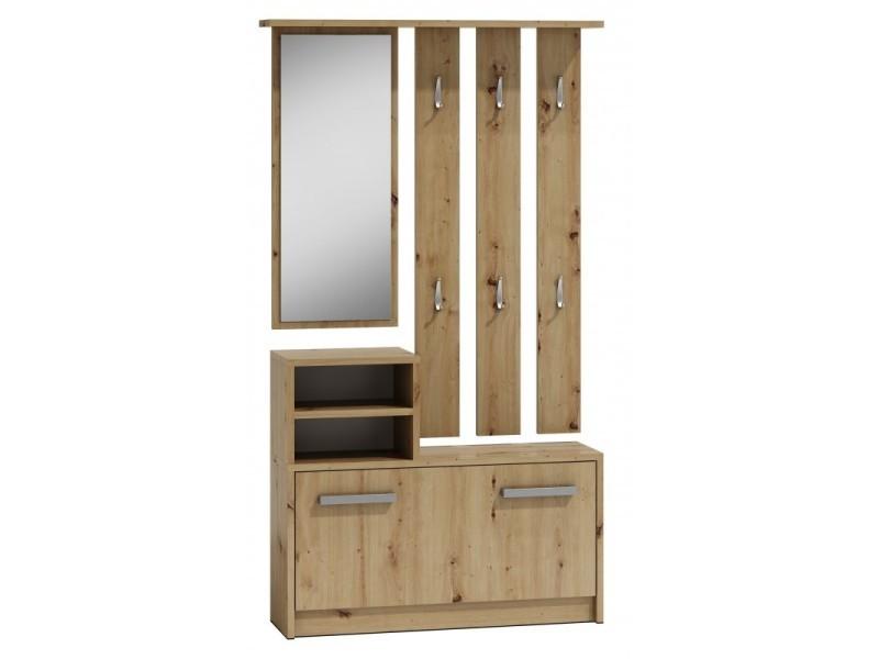 Vittoria - meuble d'entrée contemporain 6 crochets + miroir + rangement chaussures 180x85x24 - vestiaire - aspect bois - chêne