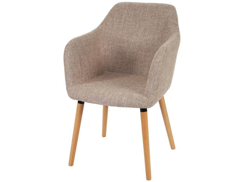 6x chaise de séjour / salle à manger malmö t381, style rétro des années 50 ~ tissu, crème/gris