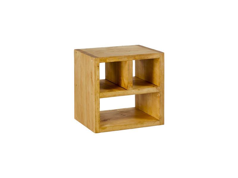 Cube de rangement 3 niches en pin massif - miel - /miel