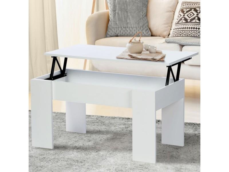 Table basse avec plateau relevable bois blanc