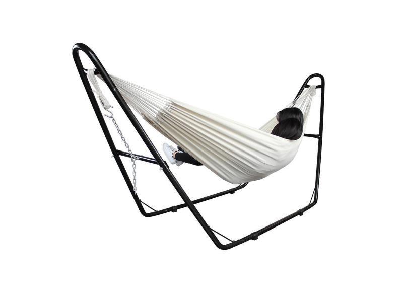 Hamac, lit suspendu, beige, brésilien, coton, avec support type-h, capacité: pour 2 personnes 3700778714983