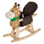Cheval à bascule jouet à bascule girafe fauteuil intégré fonction musicale 32 pistes marron beige neuf 72