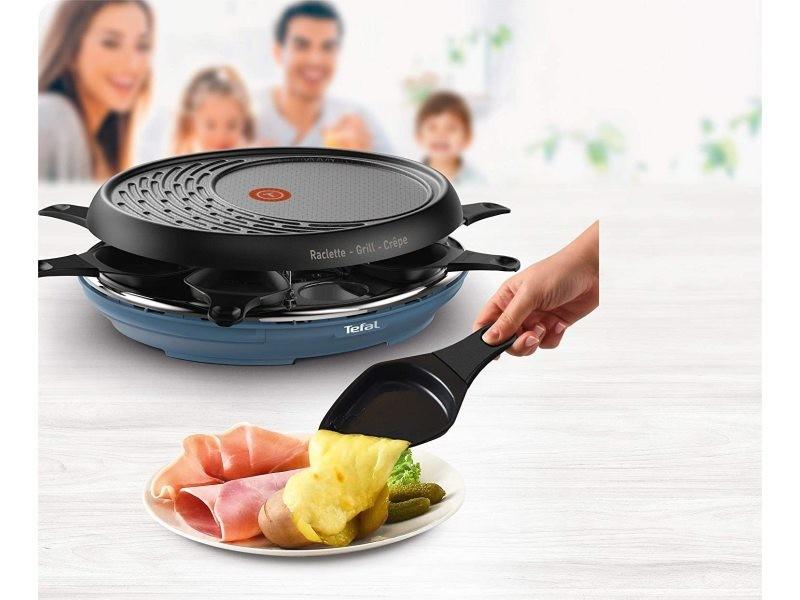Appareil à raclette multifonctions 3 en 1 pour 8 personnes 1050w noir bleu