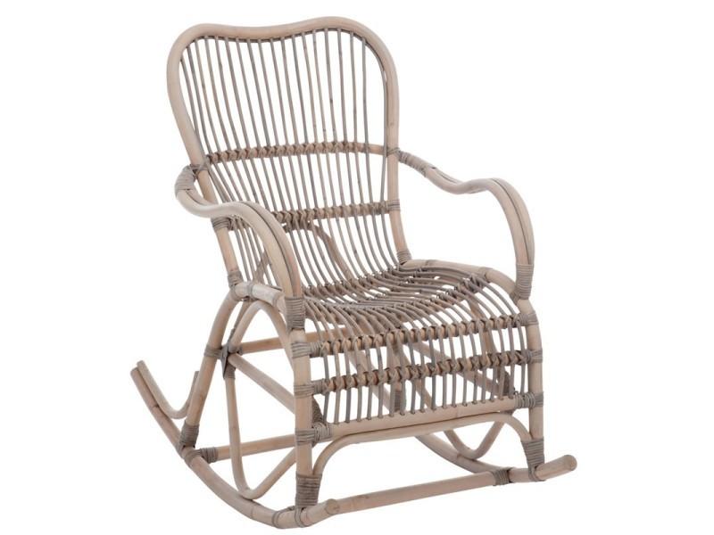 Rocking chair rotin grisé - ricky - l 110 x l 66 x h 93 - neuf