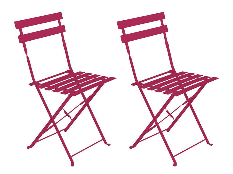 Lot de 2 chaises de jardin métal pliante camargue framboise - hesperide