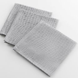 3 serviettes de table jacquard damasse serpentile gris 40 x 40 cm
