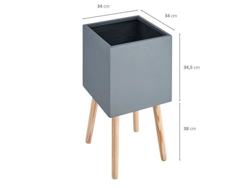 Cache-pot pot carré sur pieds en bois - 30 x 30 x 50 cm - pieds: 40 cm - gris anthracite