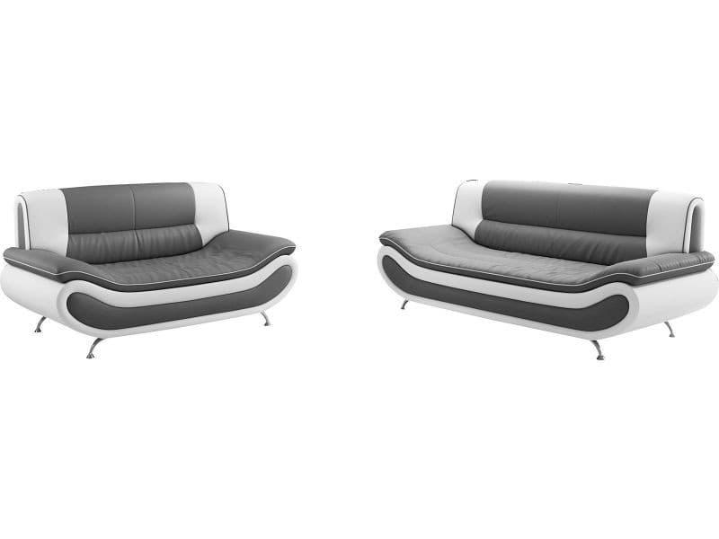 Ensemble canap s 3 2 places design en pvc gris et blanc vente de comforium conforama - Canape gris et blanc conforama ...