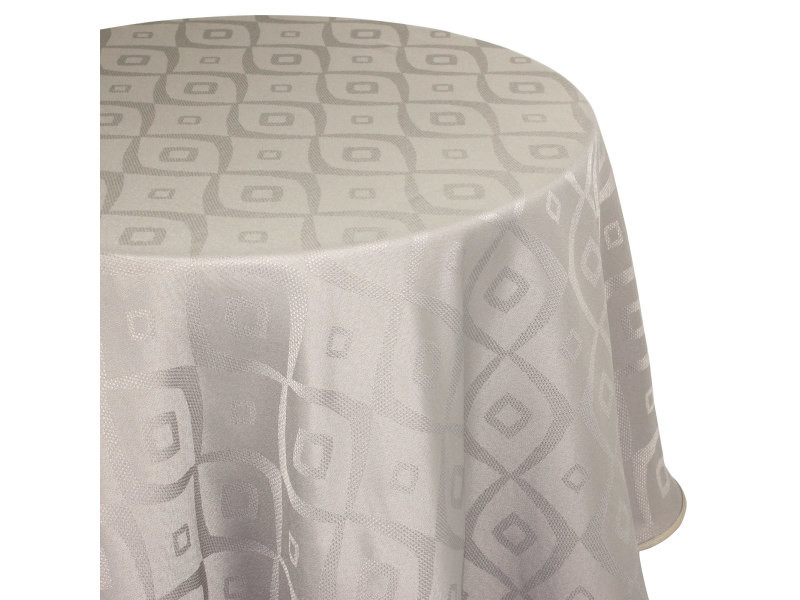 Nappe ronde 180 cm jacquard 100% polyester brunch taupe