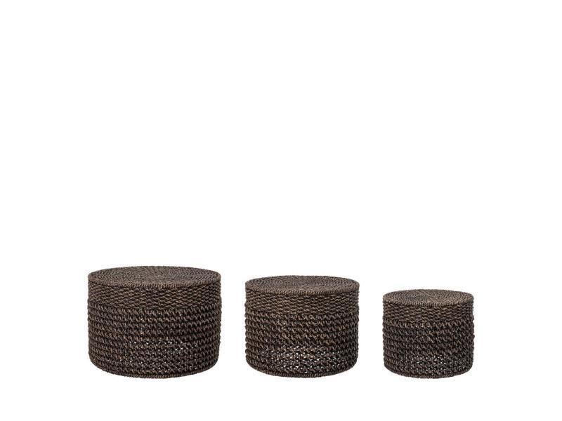 Marrone - 3 tables basses en jacinthe d'eau - couleur - marron 82043336