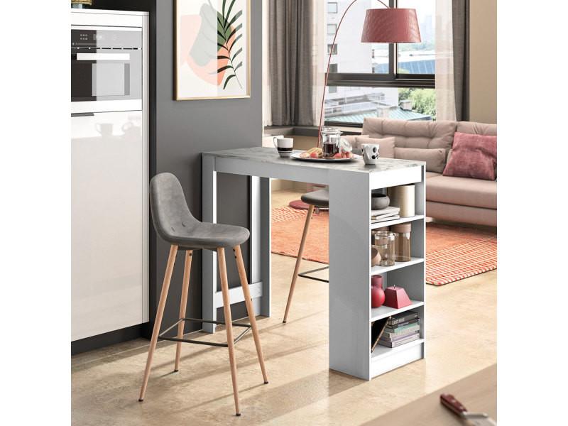 A-cocoon table et chaises - blanc et marbre - gris anthracite