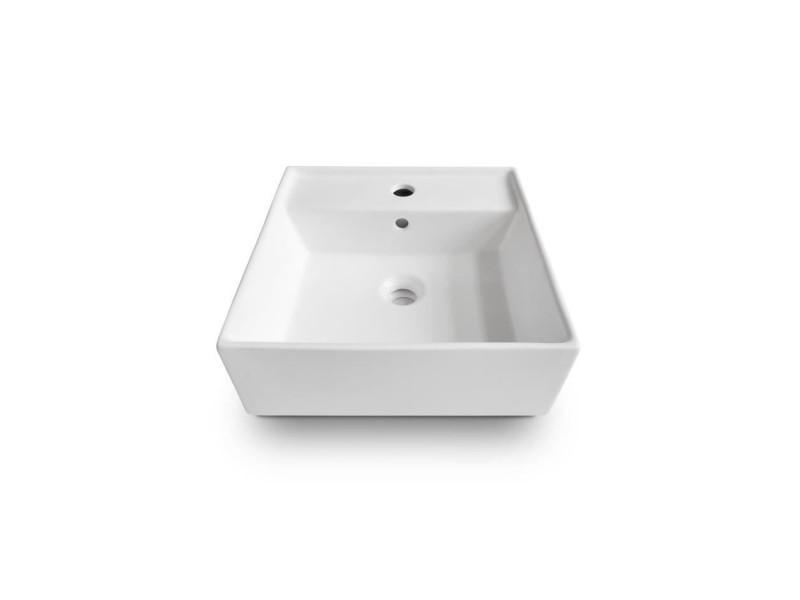 Oceanic vasque a poser en ceramique forme carree 41,5x41,5x15 cm lena OCEAVASCA41