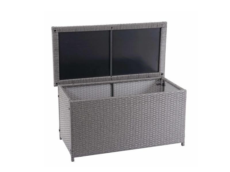 Coffre à coussins en polyrotin, hwc-d88, coffre jardin ~ basic gris, 51x100x50 cm, 170l