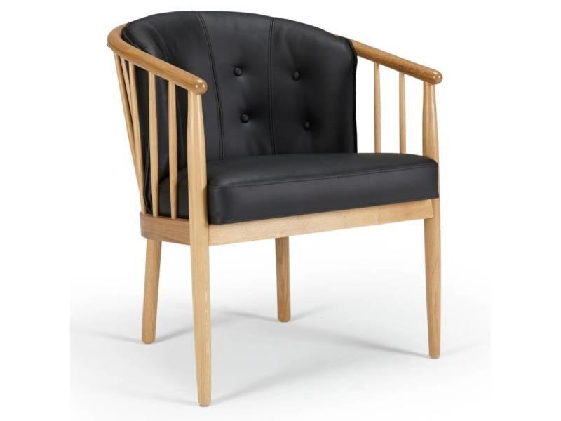 Fauteuil design scandinave anna accoudoirs bois cuir noir 20100873523