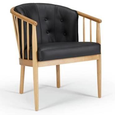 Fauteuil design scandinave anna accoudoirs bois cuir noir