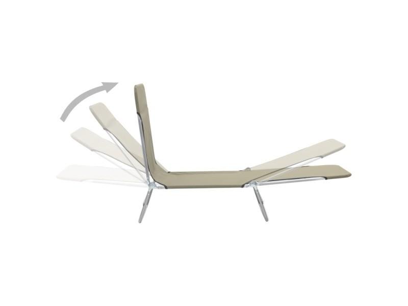 Vidaxl chaises longues pliables 2 pcs acier et tissu taupe 44303