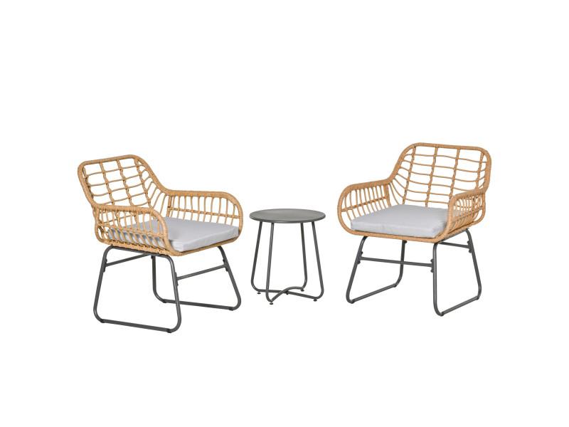 Ensemble bistro de jardin 2 places 3 pièces style exotique 2 fauteuils + table basse résine tressée beige acier époxy gris
