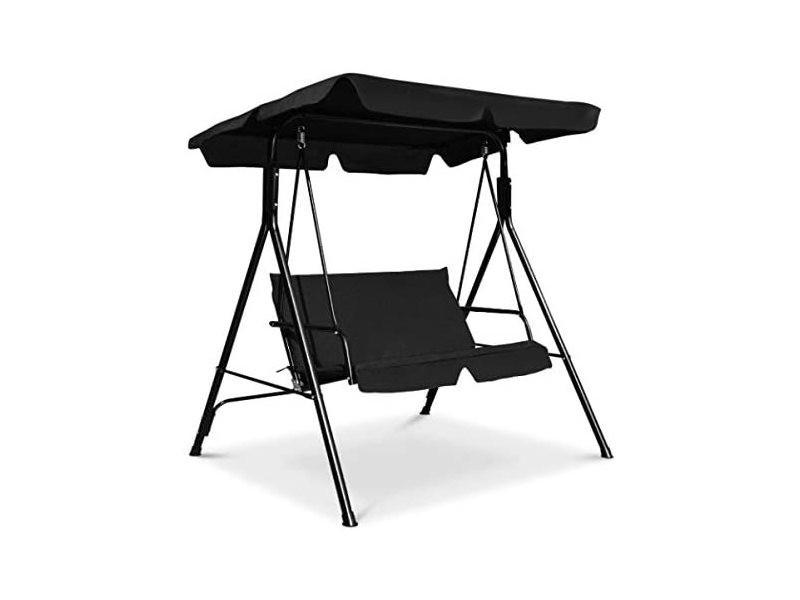 Costway balancelle de jardin 2 places, balançoire d'extérieur avec auvent, inclinaison réglable coussins assise et dossier, en polyester et acier, 110x140x153cm, noir (noir)
