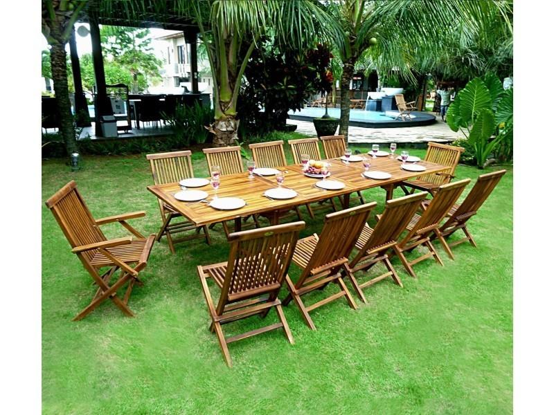 Salon de jardin en teck grande taille - table 300 cm - Vente de ...