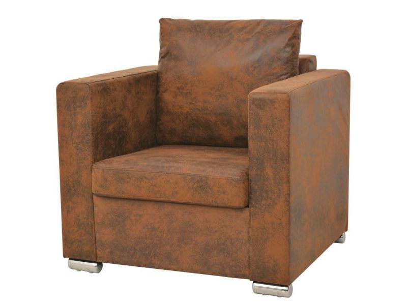 Fauteuil chaise siège lounge design club sofa salon cuir daim artificiel marron helloshop26 1102124/3