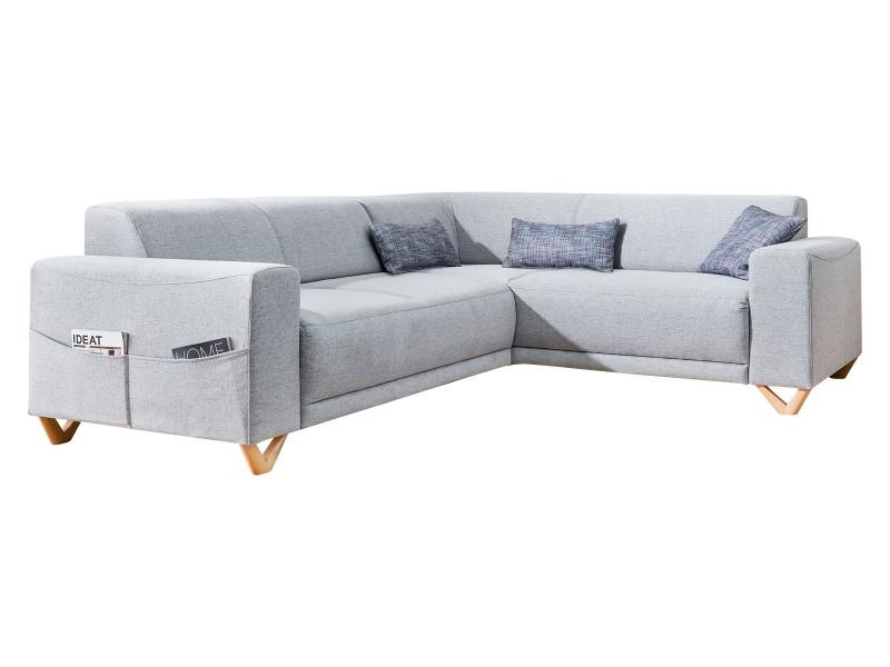 Canapé d'angle panoramique fixe bella gris clair angle droit