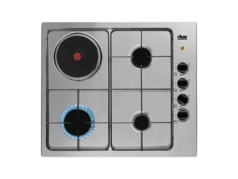 Table de cuisson gaz - 4 foyers - 1 foyer electrique - 58 cm - allumage intégré