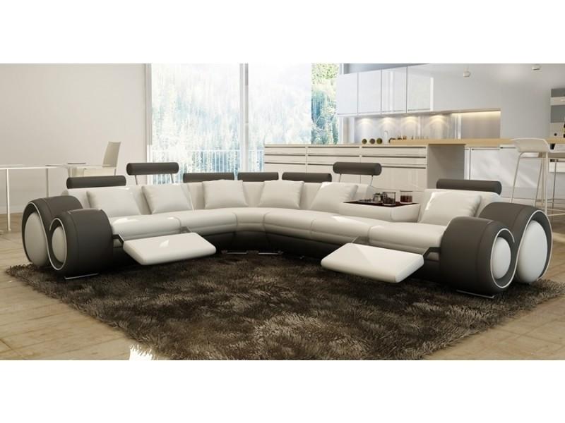 Canapé d'angle cuir blanc et gris + positions relax oslo (angle gauche)-