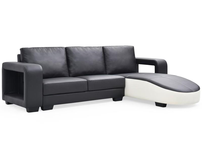 Canapé d'angle en simili cuir matha noir et blanc