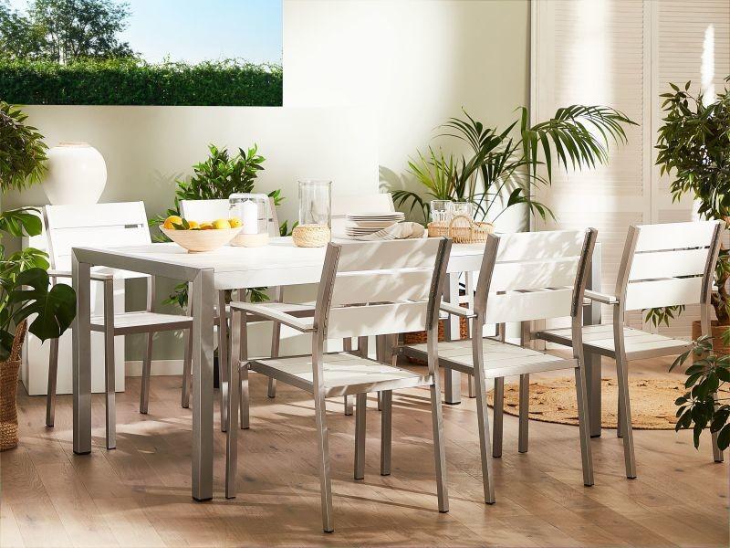 6 chaises de jardin en aluminium et bois synthétique blanc vernio 200456