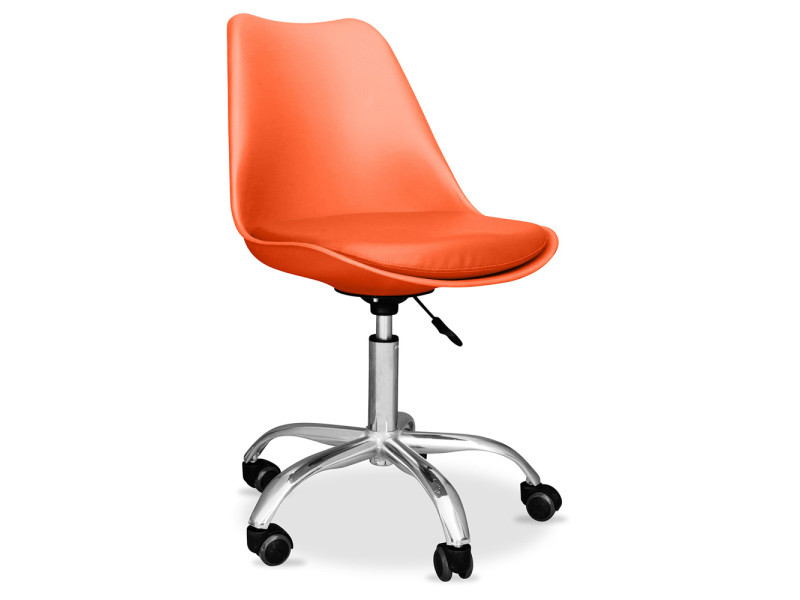 Chaise de bureau tulipe pivotante à roulettes orange vente de non