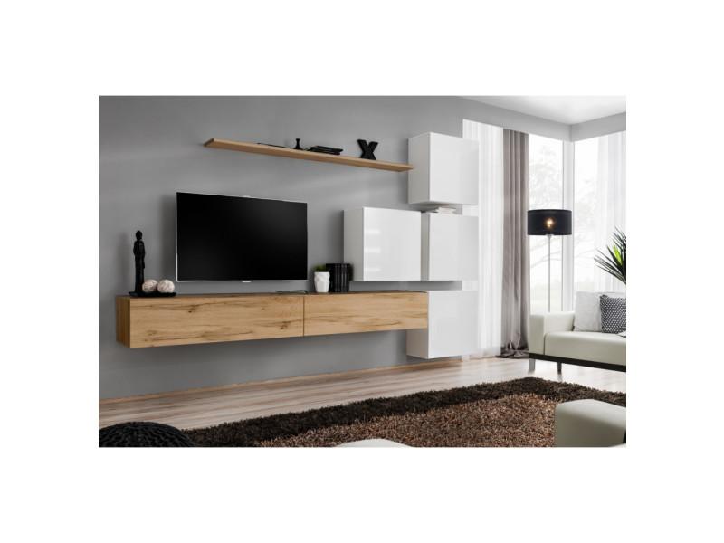Ensemble mural - switch ix - 4 vitrines carrées - 2 bancs tv - 1 étagère - bois et blanc - modèle 1