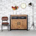 Buffet industriel 2 portes bois, 2 tiroirs métal  |  ra1