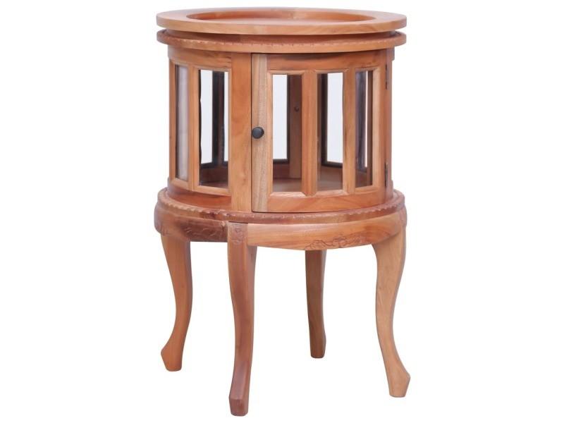 Joli tables basses et tables d'appoint reference caracas armoire de vitrine naturel 50x50x76 cm bois d'acajou massif