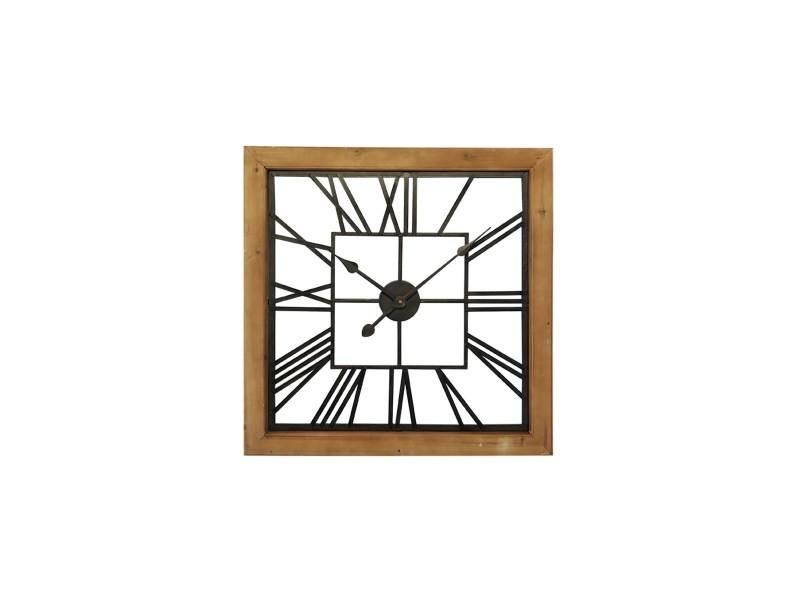 Horloge carré bois et métal ajouré 60 cm